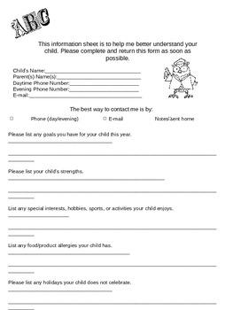 Free Parent Survey/ Questionnaire