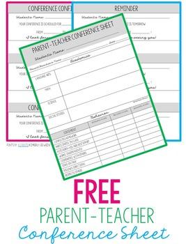 Free Parent-Teacher Conference Sheet