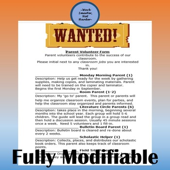 Free Parent Volunteer Form