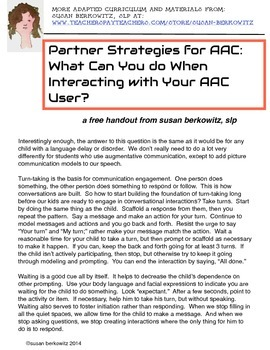 Free Partner Strategies for Augmentative Communication (AAC) handout
