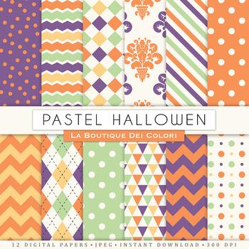 Free Pastel Halloween Digital Paper, Seamless Scrapbook Backgrounds