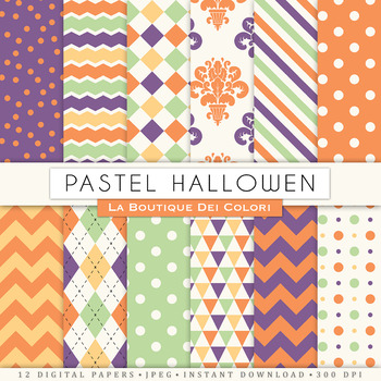 Free Pastel Halloween Digital Paper, Seamless Scrapbook Ba