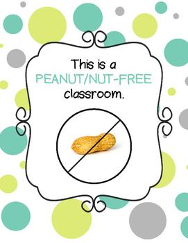 Peanut Free/Nut Free Sign