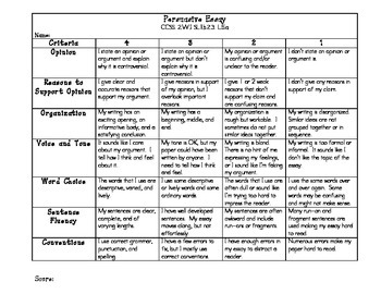 Technology argumentative essay language rubric