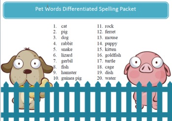 Free Pets spelling packet - 10 words, word work by SpellingPackets.com