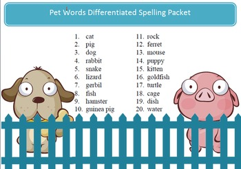 Free Pets spelling packet - 20 words, word work by SpellingPackets.com