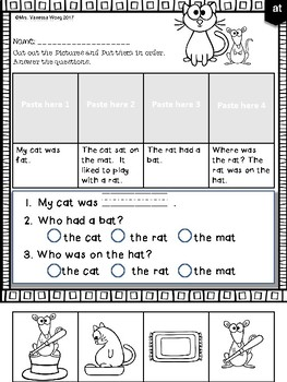 Free Phonics reading comprehension passages and activities Short Vowel