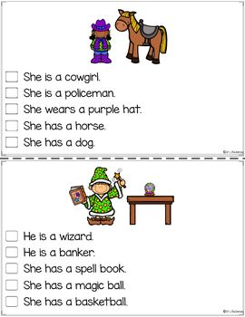 Free Picture Comprehension Cards and Worksheets