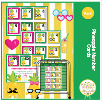 Free Pineapple Number Cards 1-50
