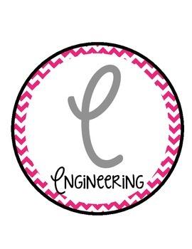 Free Pink Chevron STEM Bulletin Board Circles