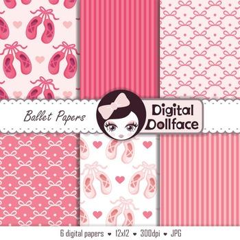 Free Pink Digital Paper, Ballet / Ballerina