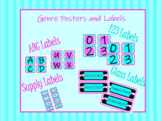 Free Pink and Teal Geometric Classroom Labels and Headers