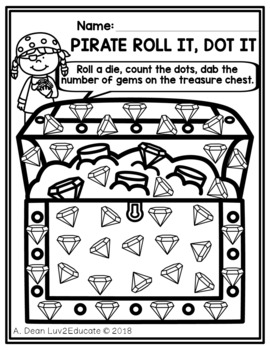 Free Pirate Roll It Dot It Counting Game
