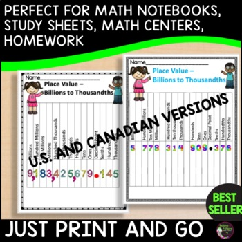 Place Value Charts to the Billions- FREE