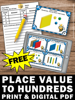 FREE Base Ten Blocks Task Cards, Hundreds Tens Ones Game, 2nd Grade Math Review