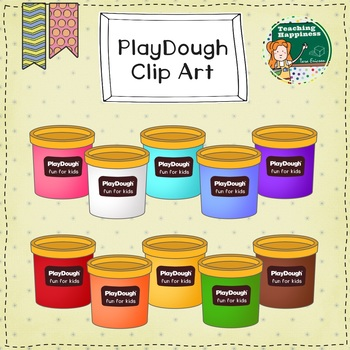 Free Play Dough Clip Art - Rainbow Containers - Personal or Commercial License