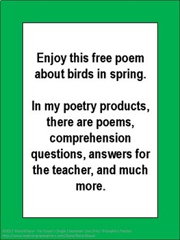 Free Poem about Birds in Spring