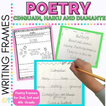 FREE Poetry Writing Frames for Cinquain, Haiku and Diamante Poetry Grades 2-4