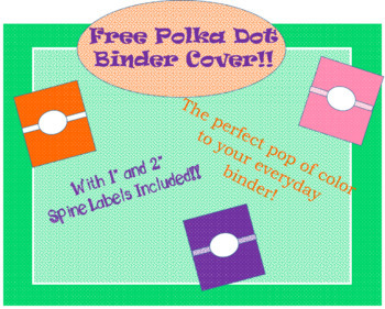Free Polka Dot Binder Cover and Spine labels