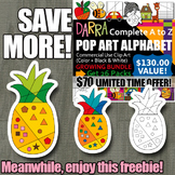 Free Pop Art Pineapple Clipart, color by code clip art
