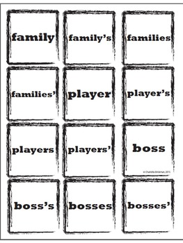 Free Possessive Nouns Memory Game