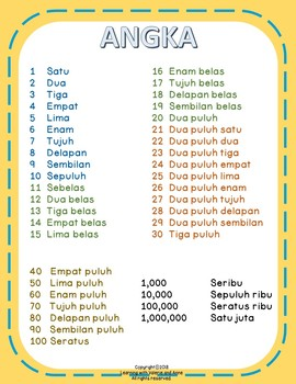 Free Poster Angka (Numbers 1-1000000 Poster in Indonesian)