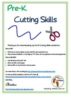 Free ~ Pre-K Cutting & Handwritting Skills