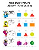 Free Pre-K Worksheet • Identify Shapes • Colorful One-Eyed Monsters For Fun!