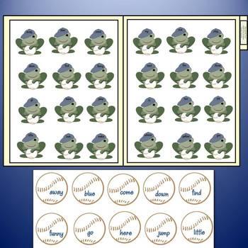 Free Pre-Primer Baseball Frog Flippin Fun File Folder Game