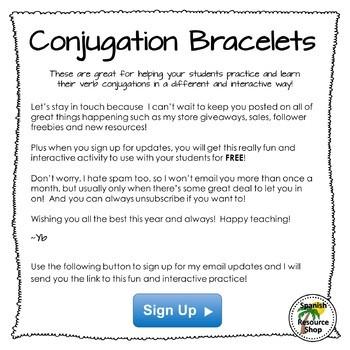 Free Present Tense Conjugation Bracelets