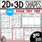 2D and 3D Shapes Freebie STAAR Geometry Test Prep