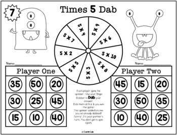 Free Preview ~ Monster Multiplication {3 Bingo Dabber Print and Play Games}