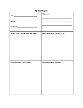 Free Primary Grade Book Report Simple
