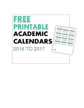 Free Printable Academic (school) Calendar 2016-2017