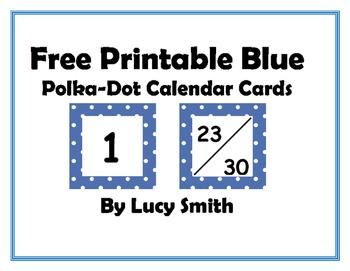 Free Printable Blue Polka Dot Calendar Cards