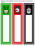 Free Printable Christmas bookmarks: with space to write a note to your student!
