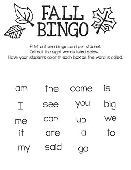 Free Printable Fall Bingo - Kindergarten Sight Words
