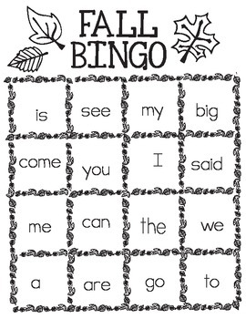 Free Printable Fall Bingo - Kindergarten Sight Words