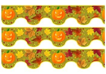 Free Printable Fall Leaves & Halloween Themed Bulletin Border Trim Pumpkin