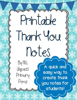 Free Printable Thank You Notes By Learning At The Primary Pond Alison