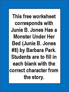 Free Printable Junie B. Jones Has a Monster Under Her Bed