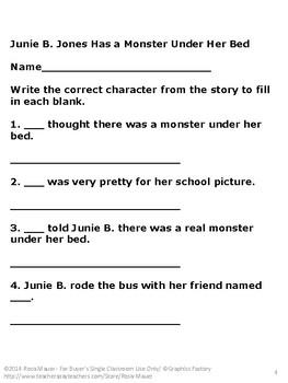 Free Printable Junie B. Jones Has a Monster Under Her Bed