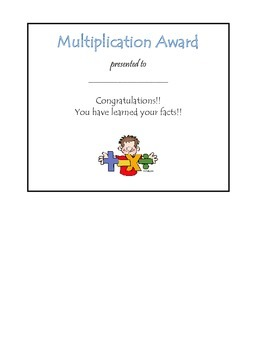 Printable Multiplication Award
