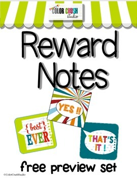 Free Printable Reward Notes in 3 cute designs ( a free preview of the full set )