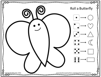 Free Printable Roll A Butterfly Game / Activity for Preschool or Kindergarten
