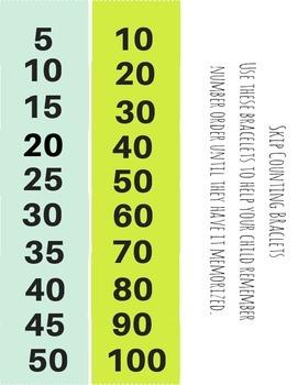 Free Printable Skip Counting Bracelets