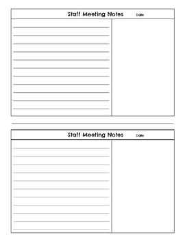 Free Printable Staff Meeting Note Pages