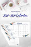 Free Printable Teacher Calendar 2018- 2019