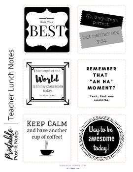 Free Printable Teacher Lunch Box Notes