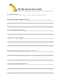 Free Printable Tell Me About Your Child Questionnaire